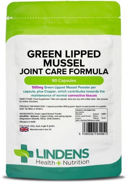 Green Lipped Mussel 500mg x 90/360 Capsules; Joint Care Formula; Lindens